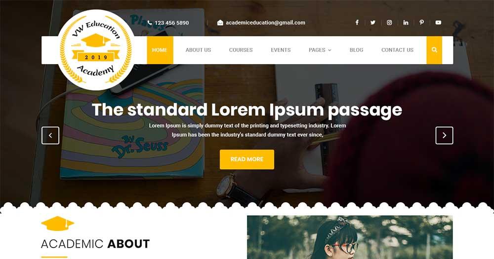 WordPress theme giáo dục Academy Education