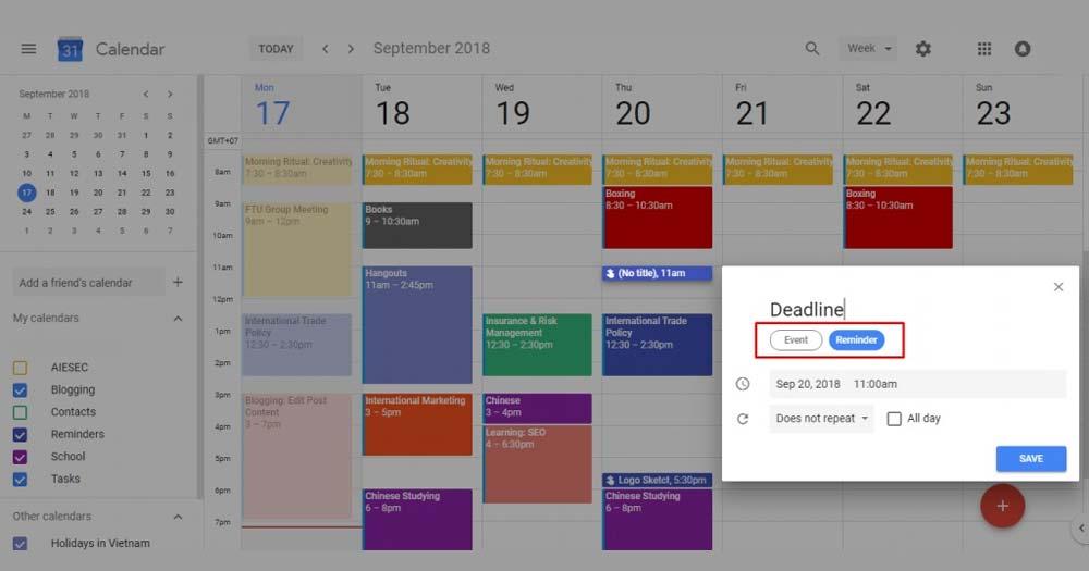 Ứng dụng quản lý thời gian biểu Google Calendar