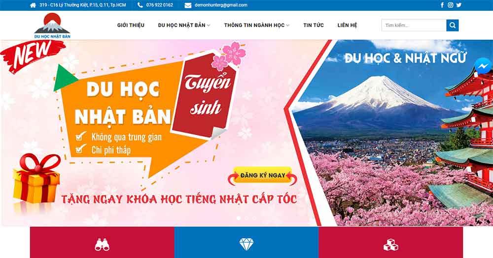 Mẫu website du học Nhật Bản