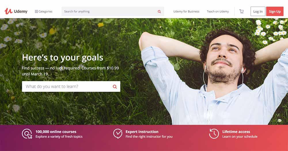 Website cung cấp đa dạng khóa học code online- Udemy